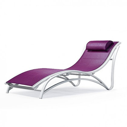 Maui Sling Stacking Chaise Lounge, Non-Adjustable Back
