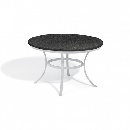"Travira 48"" Round Dining Table - Powder Coated Aluminum, Charcoal Granite Top"