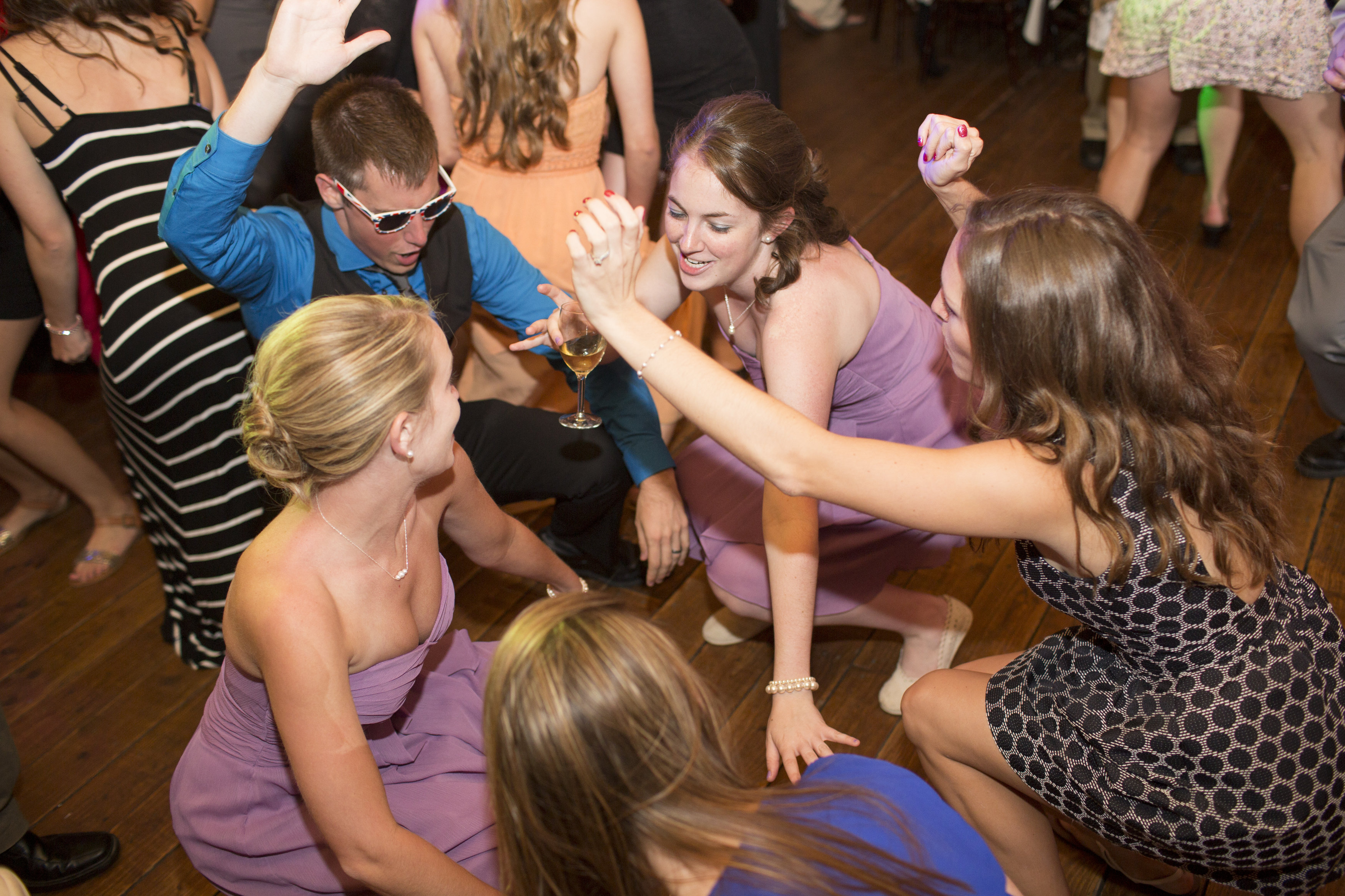 Bridal party dancing