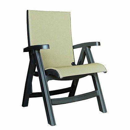 Belize Midback Folding Chair Charcoal Frame