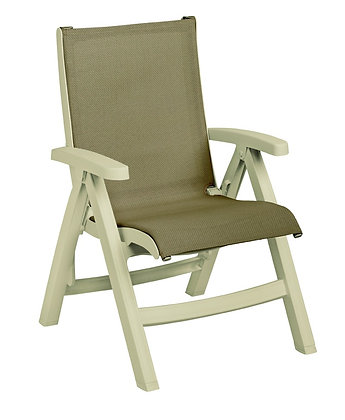 Belize Midback Folding Chair Taupe with Sandstone Frame