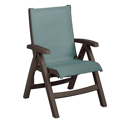 Belize Midback Folding Sling Chair Spa Blue with Bronze Mist Frame