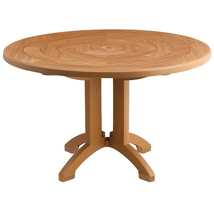 "Aquaba 48"" Round Table Teakwood Decor & Teakwood Legs - Non Folding"