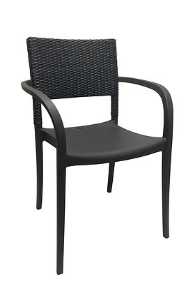 Java Resin Wicker Arm Chair Charcoal