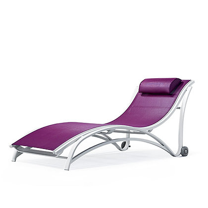 Maui Sling Stacking Chaise Lounge With Wheels