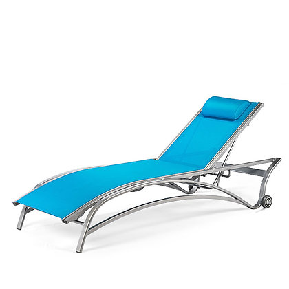 Maui Sling Stacking Chaise Lounge With Wheels Adjustable Back