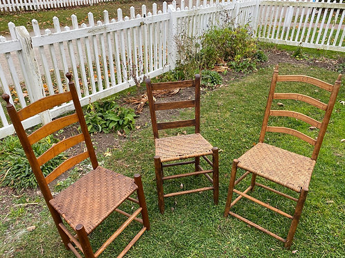 Three Antique Ladder Back Chairs
