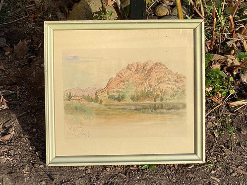 Vintage watercolor of Estes Park
