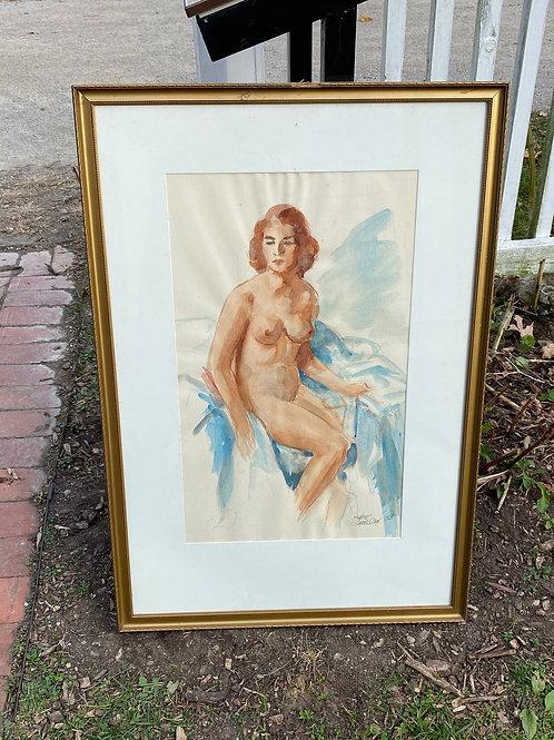 Mid century watercolor nude