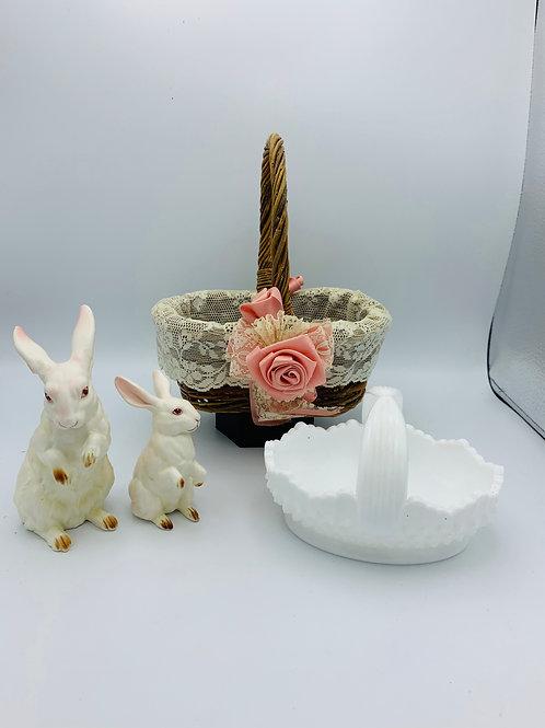Lefton bunnies and milk glass basket