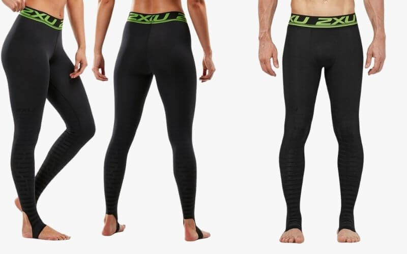 Athletes wearing 2XU Power Recovery Compression Tights.