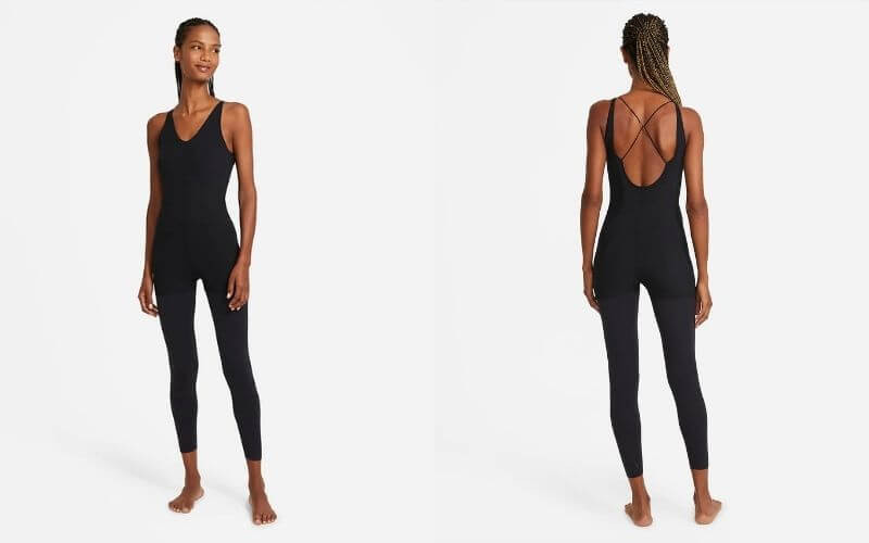 Athlete wearing Nike's Yoga Luxe Jumpsuit.