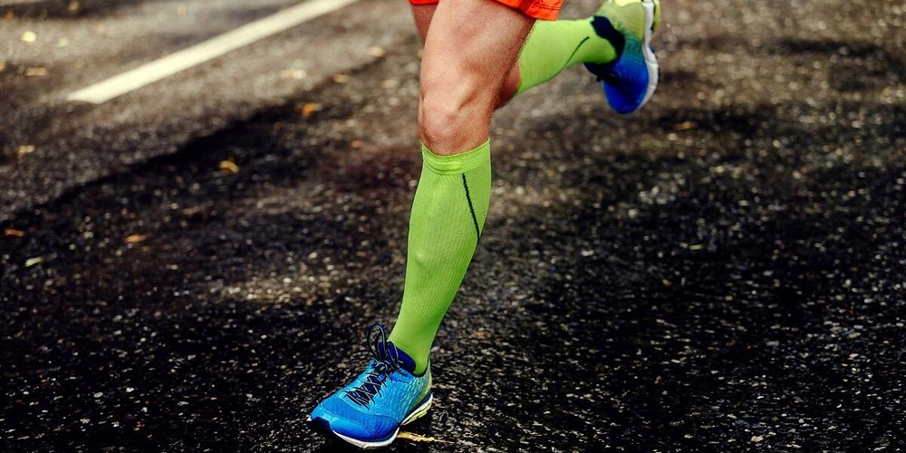 Runner wearing compression socks.