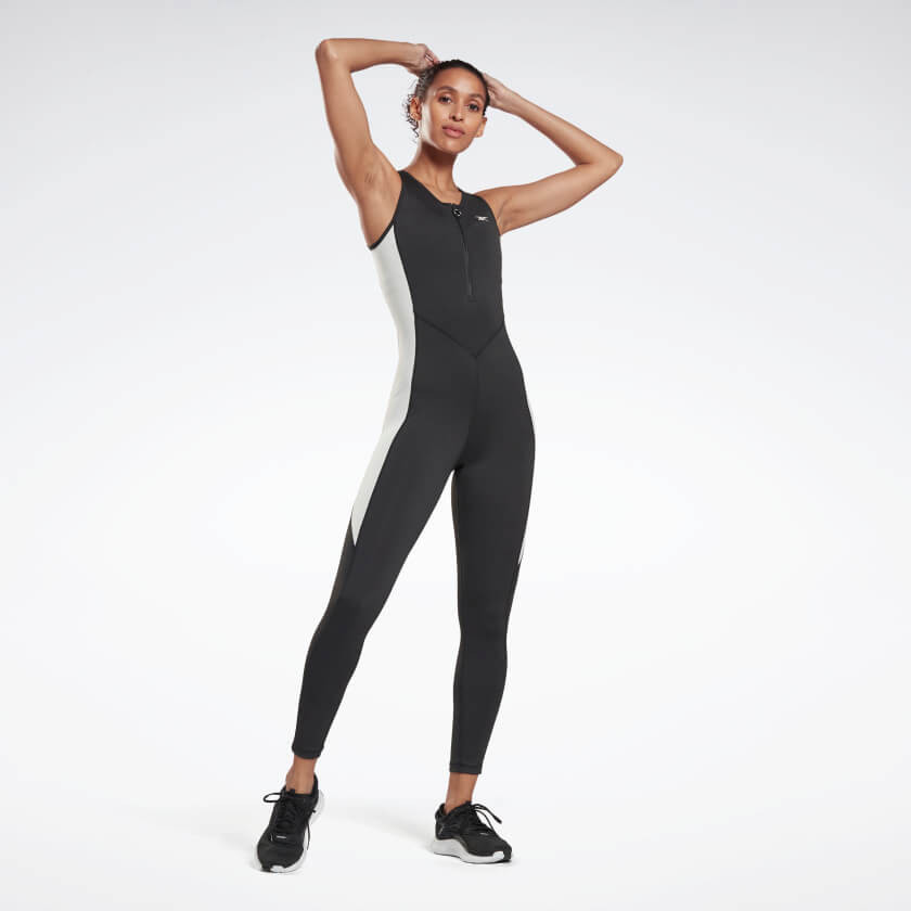 Athlete wearing Reebok Studio High Intensity Jumpsuit.