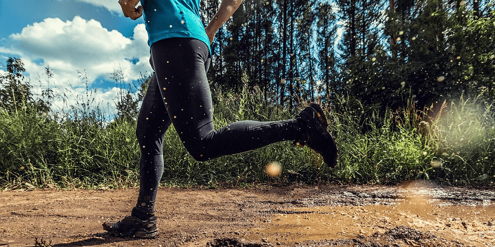 Runner wearing dirty compression gear in need of washing.