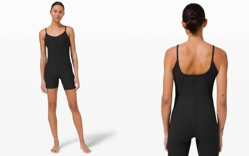 Athlete wearing Lululemon Ribbed Contoured Yoga Unitard.