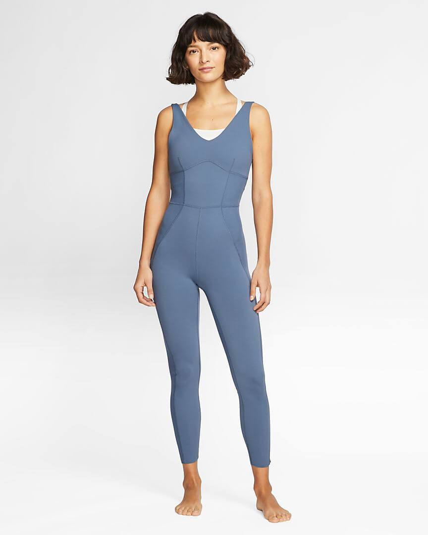 Athlete wearing Nike Yoga Luxe Infinalon Jumpsuit.