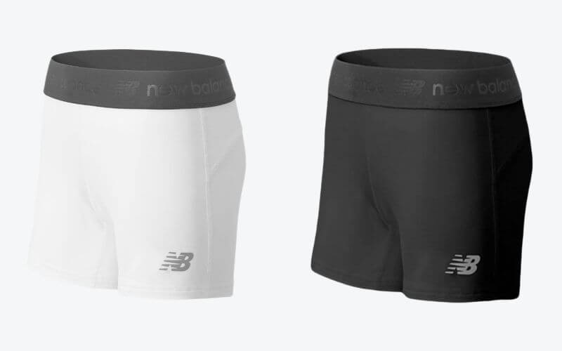 New Balance Compression Shorts for soccer in white and black.