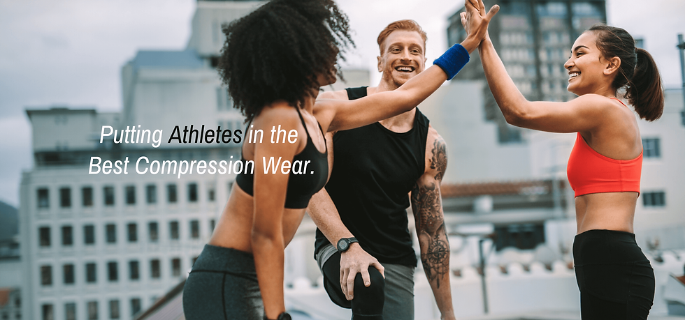 3 athletes in compression wear