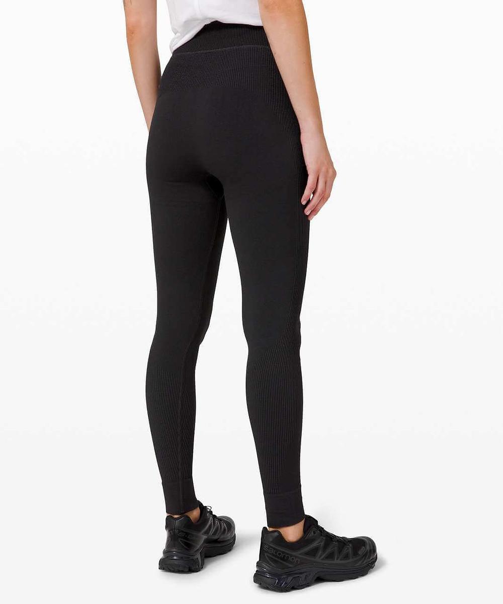 Athlete wearing Lululemon Keep The Heat Thermal tights.