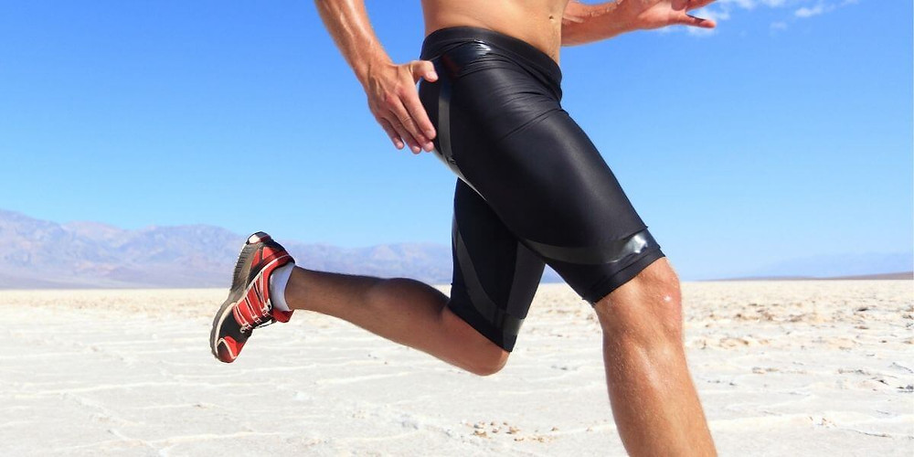 Athlete wearing compression shorts as outerwear.