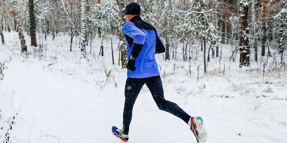 Runner wearing cold weather compression tights.