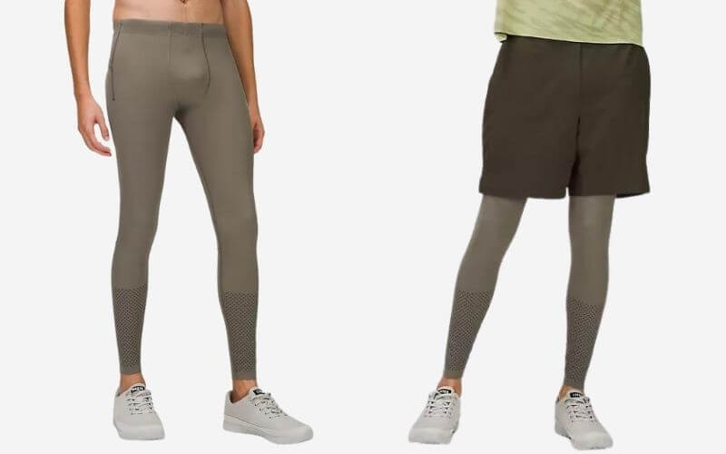 Lululemon Vital Drive Train Tights with shorts and without shorts.
