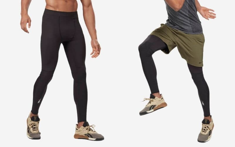 Reebok United By Fitness Compression Tights with shorts and without shorts.