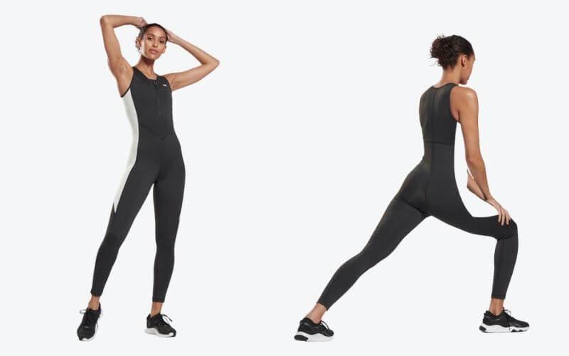 Athlete wearing Reebok Studio High Intensity Jumpsuit.