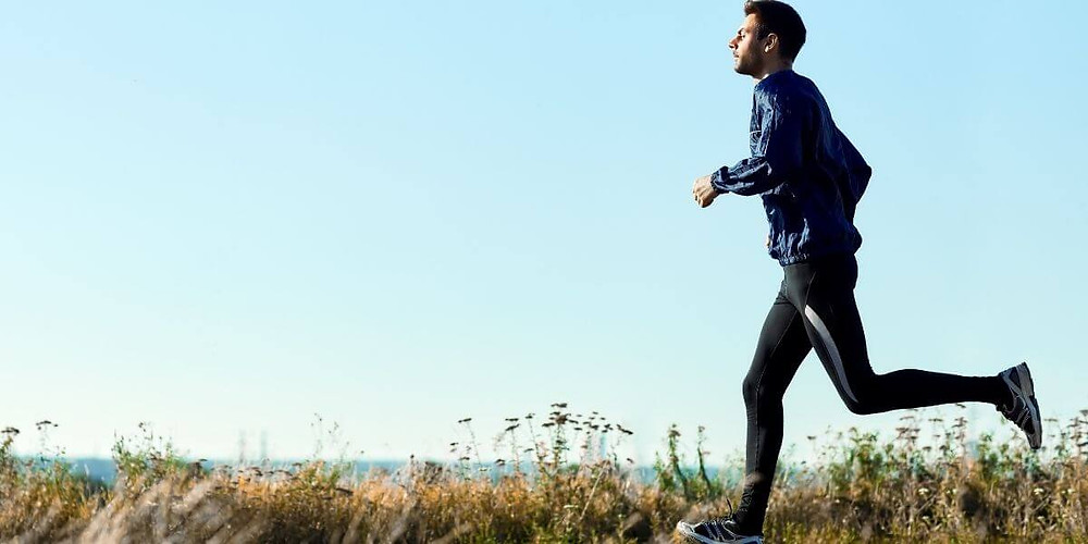 Runner wearing compression tights.