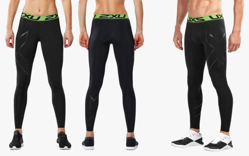 Athletes wearing 2XU Refresh Recovery Compression Tights.