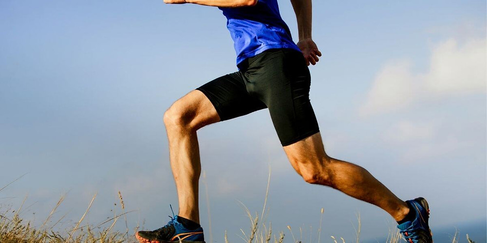 Male runner wearing compression shorts as outerwear.