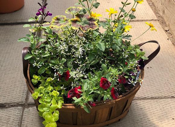 Medium Wooden Basket Planter Pl0145