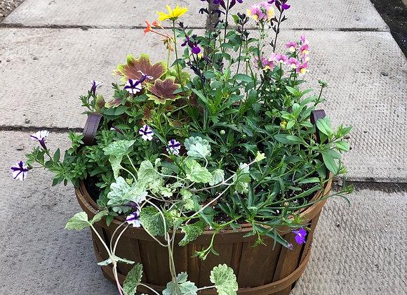 Medium Wooden Basket Planter Pl0143