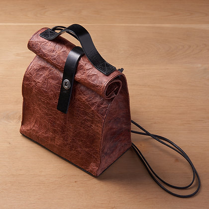 Parchment Leather Bag - Red Brown