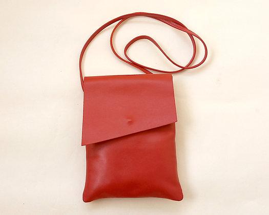 Leather crossbody bag - Shoulder bag with a zipper pocket at the back
