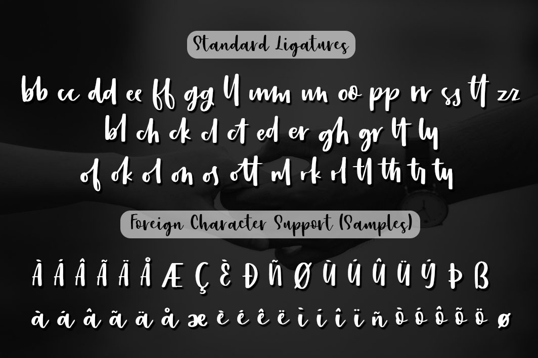 ligatures and foreign character support.