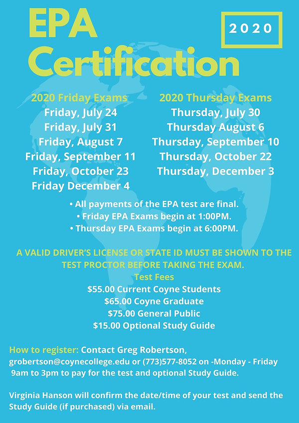 EPA certification testing dates for the