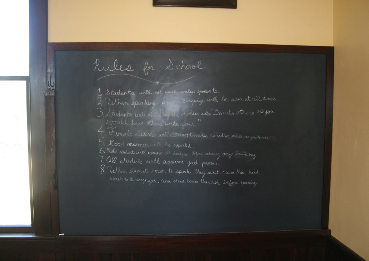 School rules at historic schoolhouse