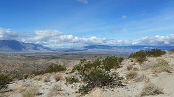 The Devil's Garden is shown in this panoramic view near Desert Hots Springs, CA