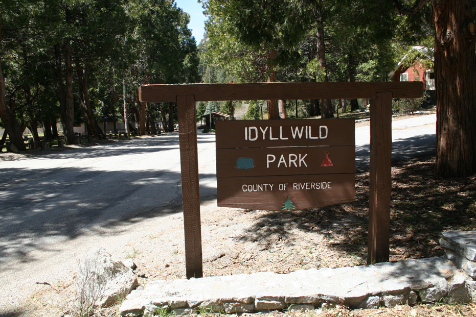 Welcome sign at Idyllwild Park