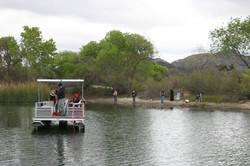 Pontoon boat on Lake Skinner