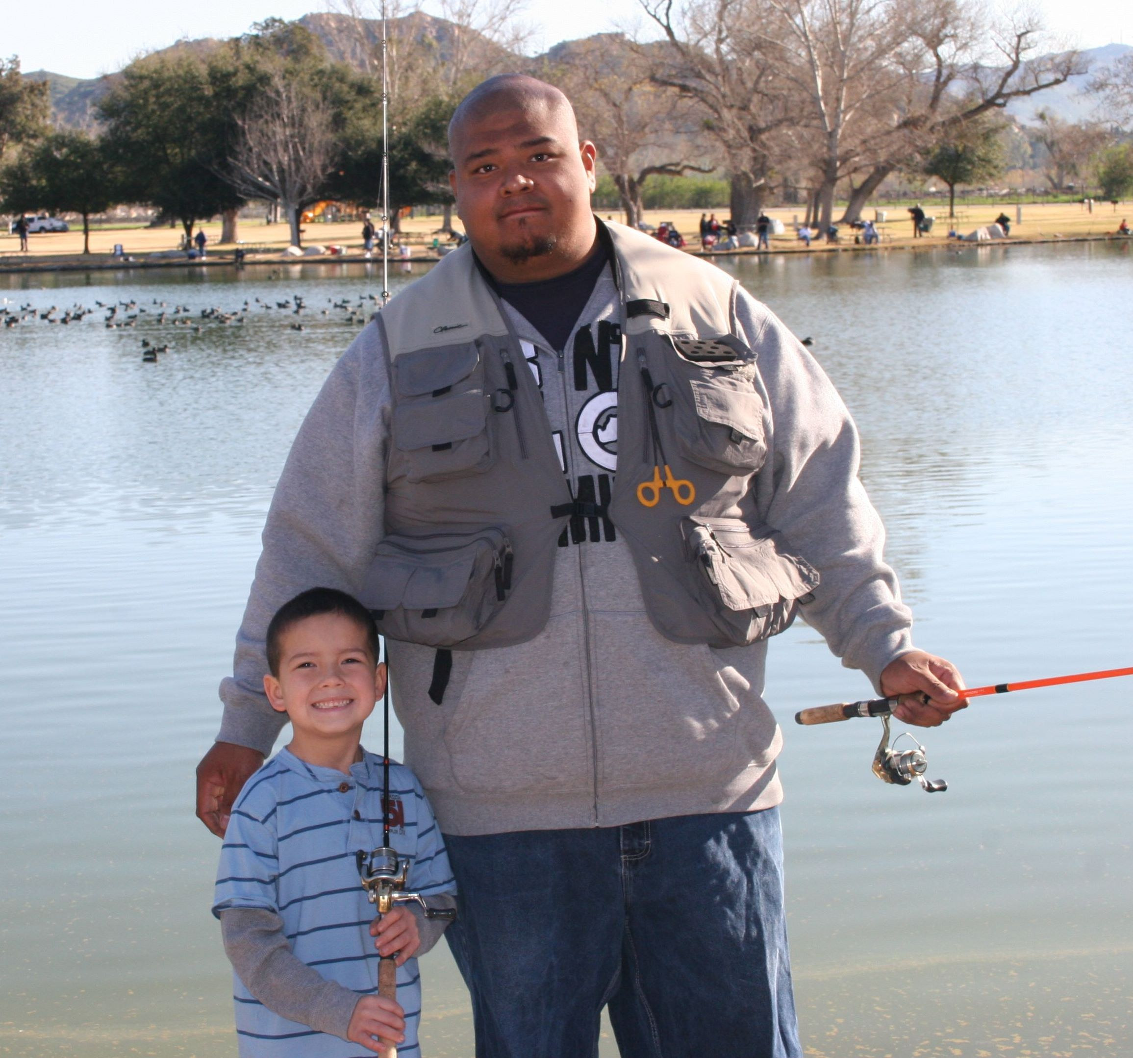 Dad w/son at RJ Lake fishing