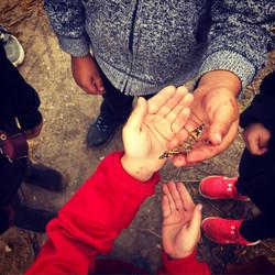 Children holding butterfly