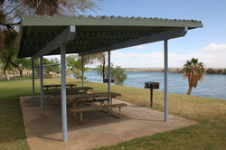 Sheltered picnic areas at Mayflower