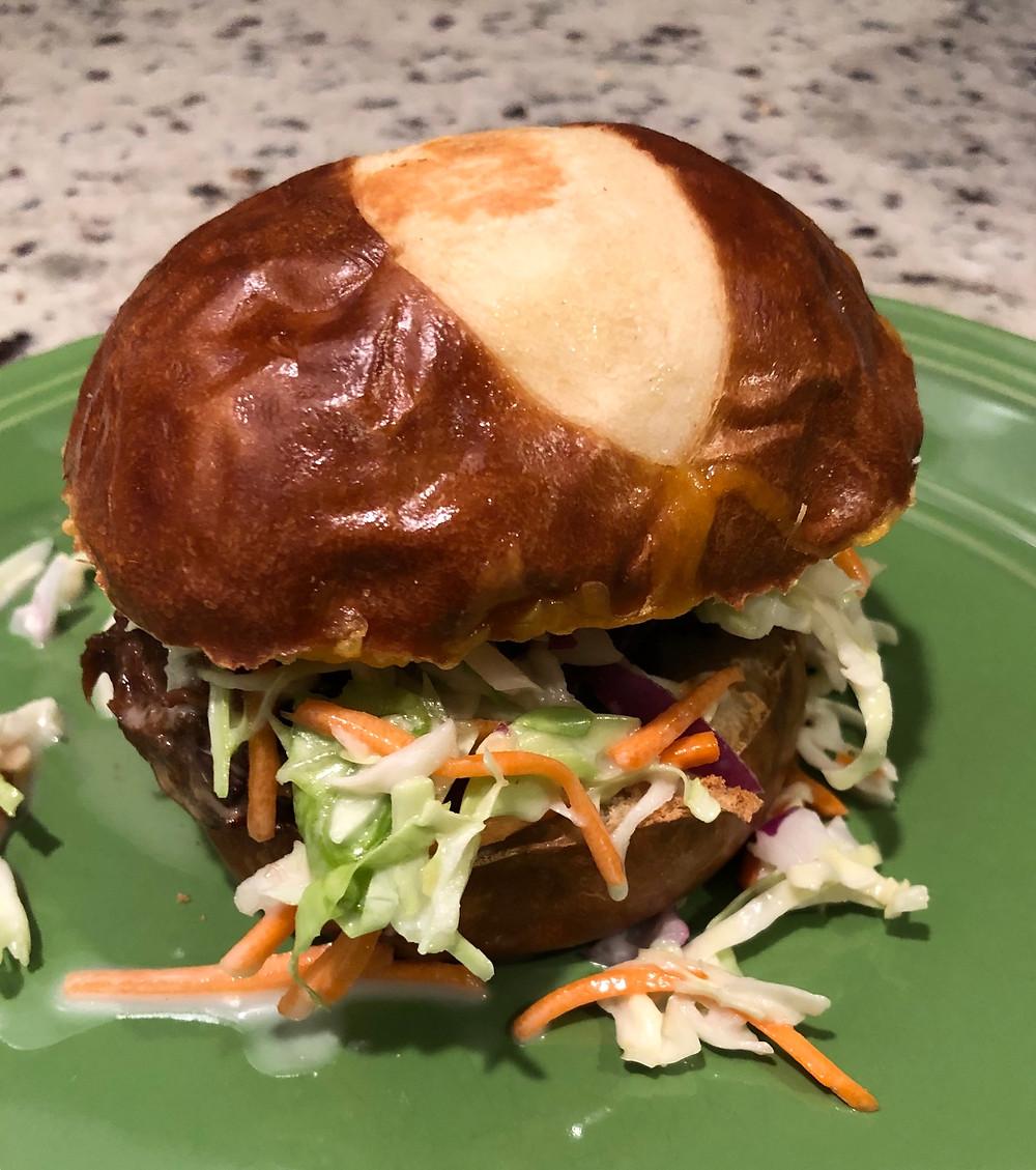 Pulled wild game sandwich