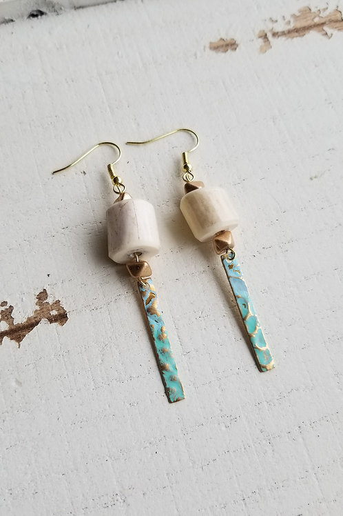 Antler Bead Earrings with Patina Hammered Brass Bar