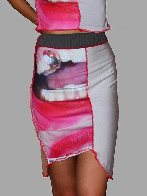 amylase asymetric ribbed waist skirt