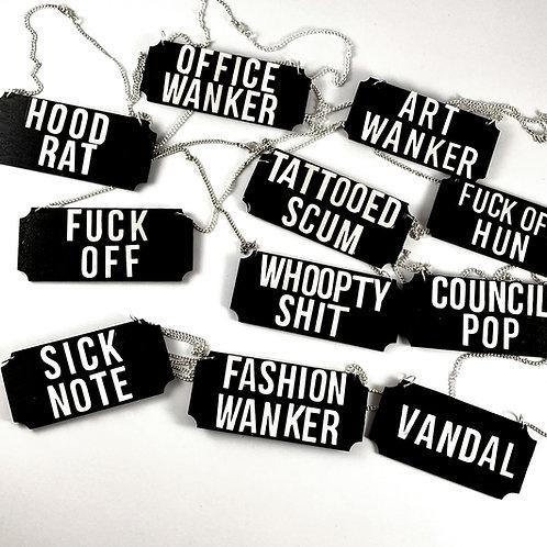 custom slogan necklace