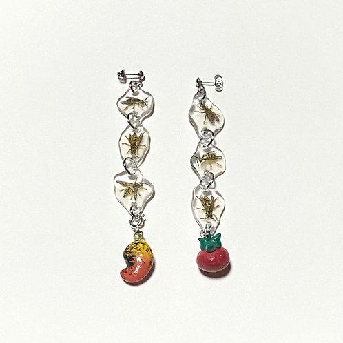 wasps & fruit dangle earrings